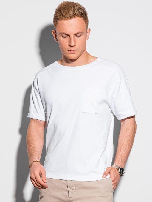 Balti vyriški marškinėliai su kišenėle internetu pigiau S1386 19793-1