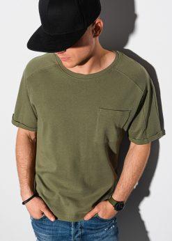 Alyvuogių vyriški marškinėliai su kišenėle internetu pigiau S1386 19794-1