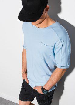 Šviesiai mėlyni vyriški marškinėliai su kišenėle internetu pigiau S1386 19795-1