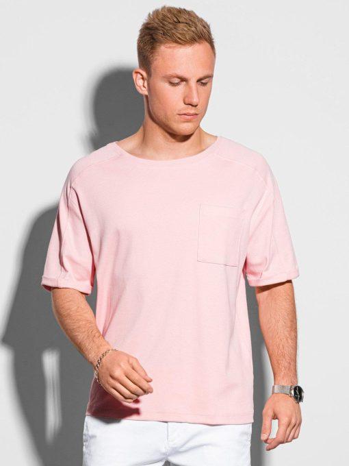 Šviesiai rožiniai vyriški marškinėliai su kišenėle internetu pigiau S1386 19797-1