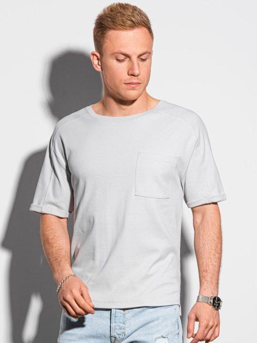 Šviesiai pilki vyriški marškinėliai su kišenėle internetu pigiau S1386 19798-1