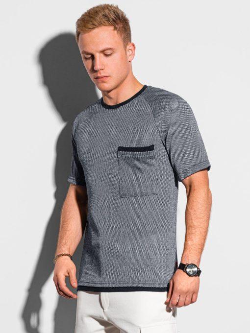 Tamsiai mėlyni vyriški marškinėliai su kišenėle internetu pigiau S1460 19848-1