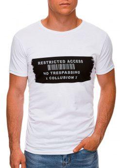 Balti vyriški marškinėliai su užrašu internetu pigiau S1465 19867-1