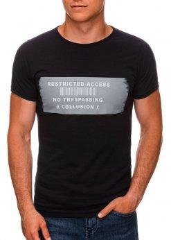 Juodi vyriški marškinėliai su užrašu internetu pigiau S1465 19868-1