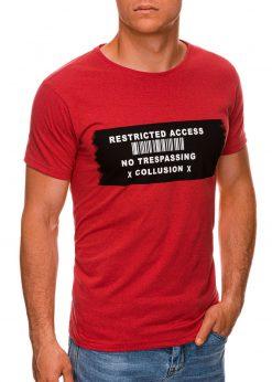 Raudoni vyriški marškinėliai su užrašu internetu pigiau S1465 19869-1