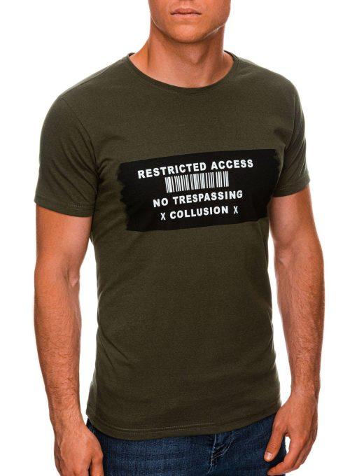 Chaki vyriški marškinėliai su užrašu internetu pigiau S1465 19870-1