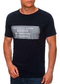 Tamsiai mėlyni vyriški marškinėliai su užrašu internetu pigiau S1465 19871-1