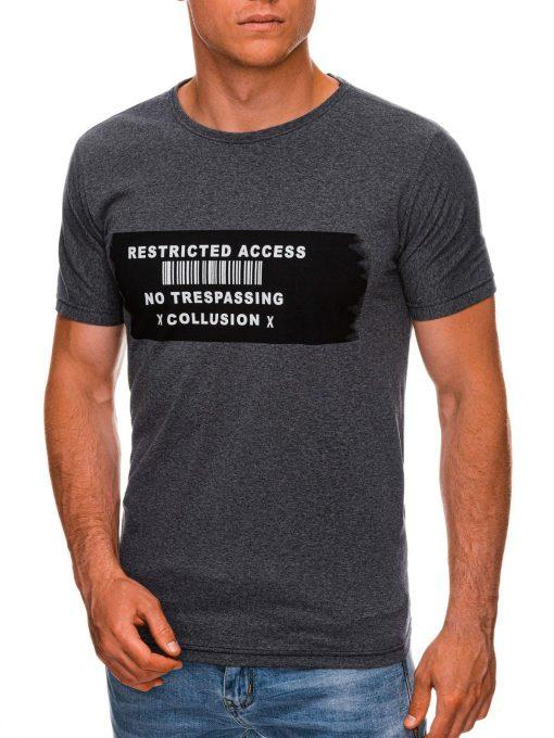 Tamsiai pilki vyriški marškinėliai su užrašu internetu pigiau S1465 19872-1
