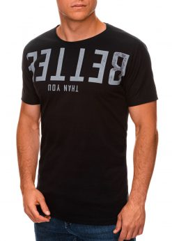 Juodi vyriški marškinėliai su užrašu internetu pigiau S1466 19873-2