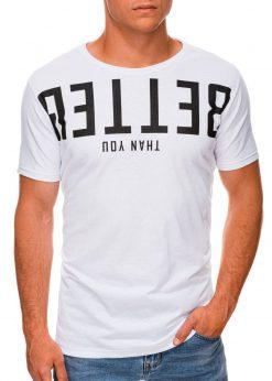 Balti vyriški marškinėliai su užrašu internetu pigiau S1466 19874-1