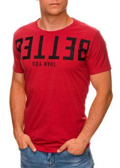 Raudoni vyriški marškinėliai su užrašu internetu pigiau S1466 19875-3