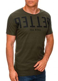 Chaki vyriški marškinėliai su užrašu internetu pigiau S1466 19876-1