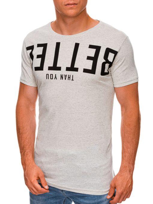 Pilki vyriški marškinėliai su užrašu internetu pigiau S1466 19877-1
