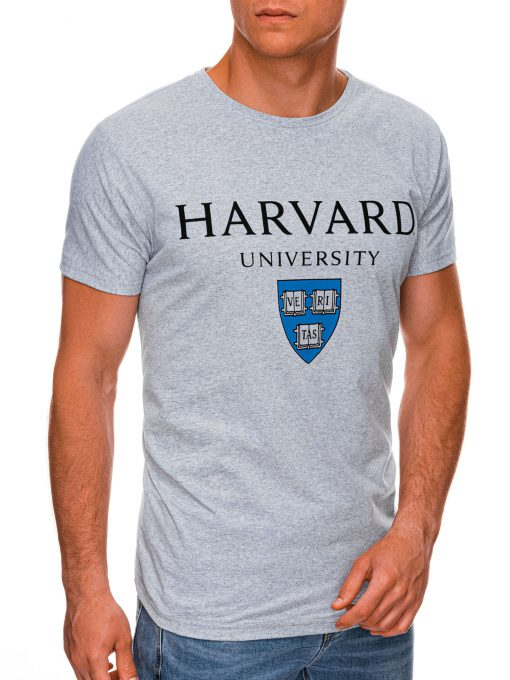 Pilki vyriški marškinėliai su užrašu internetu pigiau S1467 19878-1
