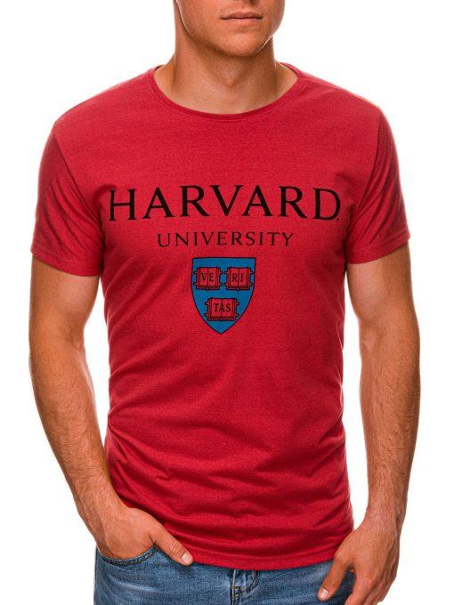 Raudoni vyriški marškinėliai su užrašu internetu pigiau S1467 19879-1