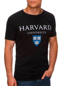 Juodi vyriški marškinėliai su užrašu internetu pigiau S1467 19880-1
