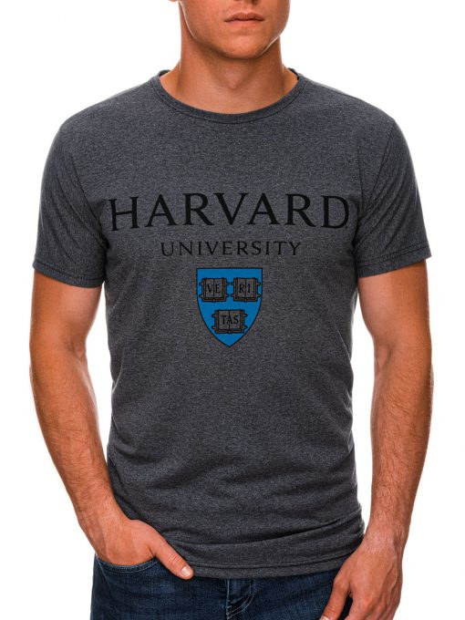 Tamsiai pilki vyriški marškinėliai su užrašu internetu pigiau S1467 19881-1