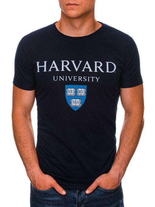 Tamsiai mėlyni vyriški marškinėliai su užrašu internetu pigiau S1467 19882-1