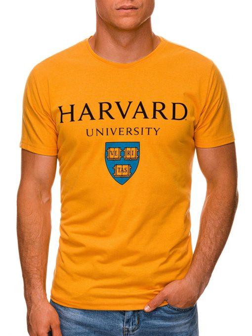 Geltoni vyriški marškinėliai su užrašu internetu pigiau S1467 19884-1