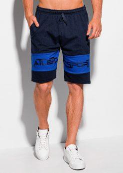 Tamsiai mėlyni sportiniai šortai vyrams internetu W334 19907-1