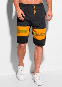 Tamsiai pilki sportiniai šortai vyrams internetu pigiau W339 19910-1