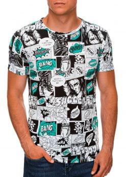 Balti vyriški marškinėliai su komikso paveiksliukais internetu pigiau S1394 19962-1