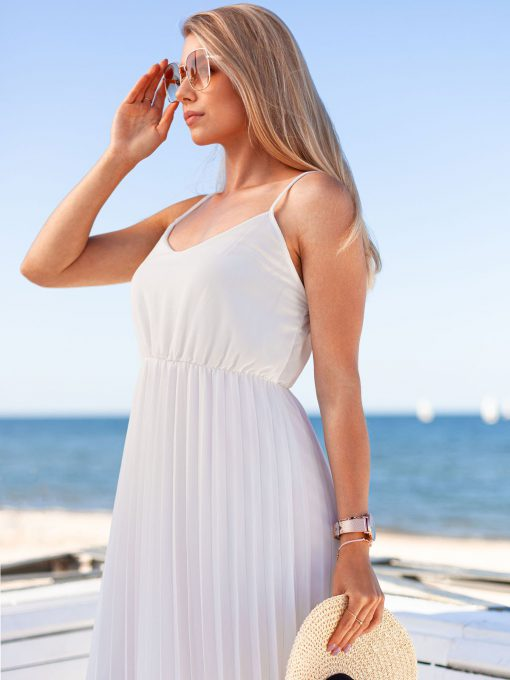 Balta vasarinė gofruota moteriška suknelė internetu pigiau DLR023 19969-1