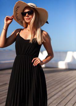 Juoda vasarinė gofruota moteriška suknelė internetu pigiau DLR023 19970-2
