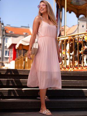 Rožinė vasarinė gofruota moteriška suknelė internetu DLR023 19971-1