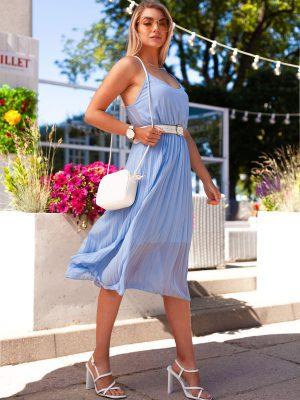 Šviesiai mėlyna vasarinė gofruota moteriška suknelė internetu pigiau DLR023 19972-2