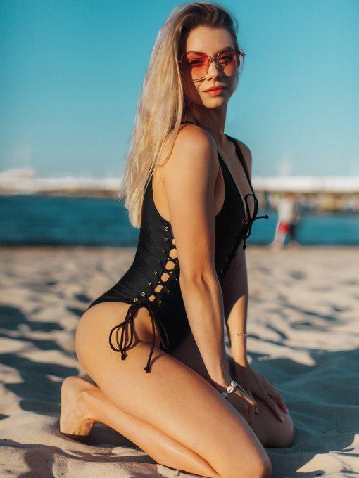 Juodas vientisas moteriškas maudymosi kostiumėlis internetu pigiau ULR035 20007-1