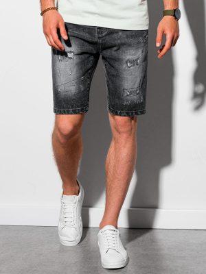 Juodi plėšyti džinsiniai šortai vyrams internetu pigiau W306 20039-1