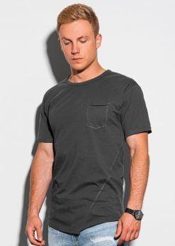 Tamsiai pilki vyriški marškinėliai su kišenėle internetu pigiau S1384 20060-3