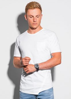 Balti vyriški marškinėliai su kišenėle internetu pigiau S1384 20063-1