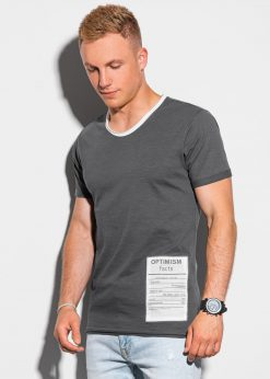 Tamsiai pilki vyriški marškinėliai su užrašu internetu pigiau S1383 20068-1
