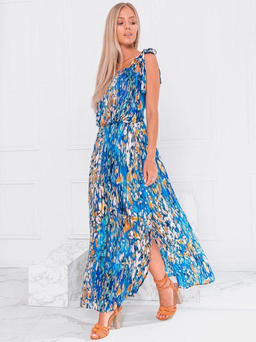 Mėlyna vasarinė moteriška suknelė be rankovių internetu pigiau DLR025 20070-1
