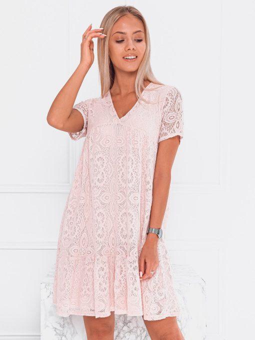 Rožinė nėriniuota moteriška suknelė internetu pigiau DLR024 20082-1