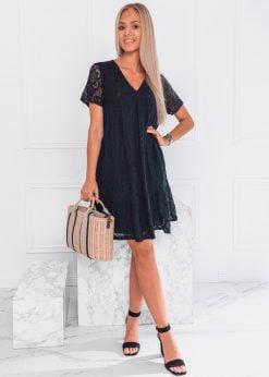 Juoda nėriniuota moteriška suknelė internetu pigiau DLR024 20083-1