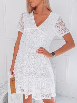Balta nėriniuota moteriška suknelė internetu pigiau DLR024 20084-1