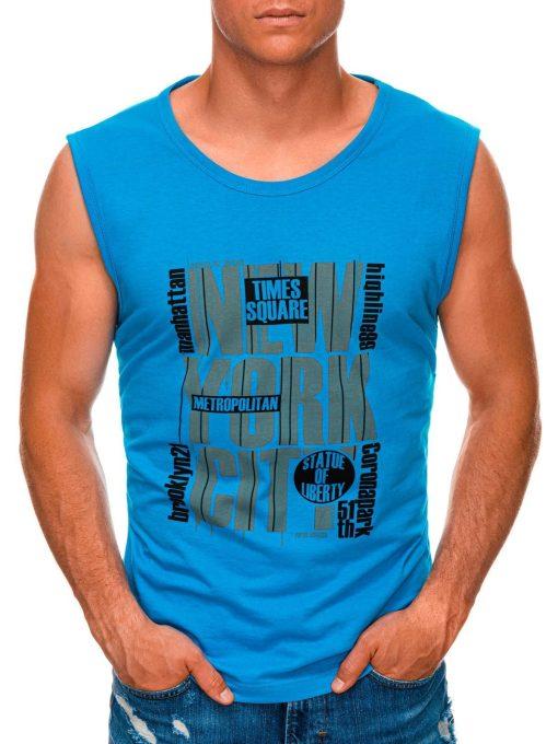 Mėlyni vyriški marškinėliai be rankovių internetu pigiau S1471 20135-1