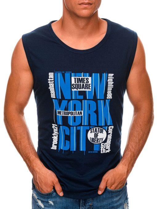 Tamsiai mėlyni vyriški marškinėliai be rankovių internetu pigiau S1471 20137-1