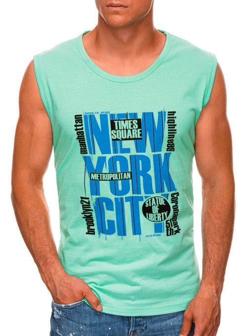 Mėtiniai vyriški marškinėliai be rankovių internetu pigiau S1471 20139-1