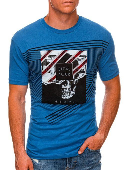 Mėlyni vyriški marškinėliai su kaukole internetu pigiau S1469 20150-1