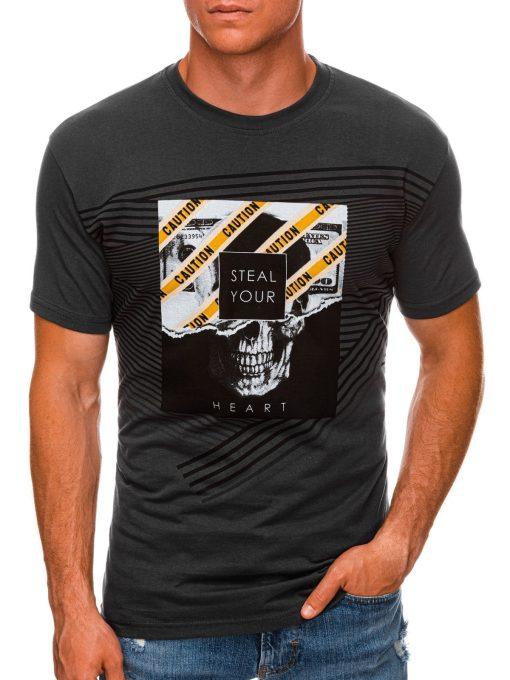 Tamsiai pilki vyriški marškinėliai su kaukole internetu pigiau S1469 20151-1