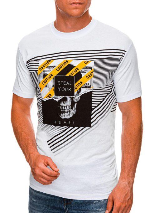 Balti vyriški marškinėliai su kaukole internetu pigiau S1469 20153-1
