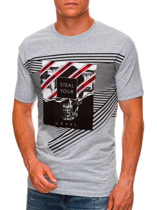Pilki vyriški marškinėliai su kaukole internetu pigiau S1469 20175-1