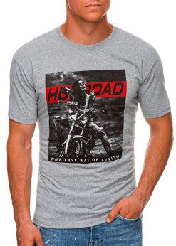 Pilki vyriški marškinėliai su motociklu internetu pigiau S1468 20176-1