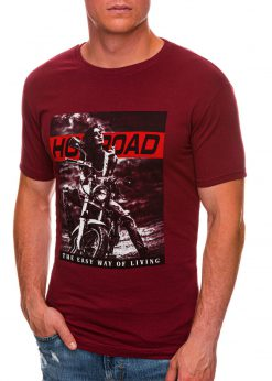 Tamsiai raudoni vyriški marškinėliai su motociklu internetu pigiau S1468 20177-1