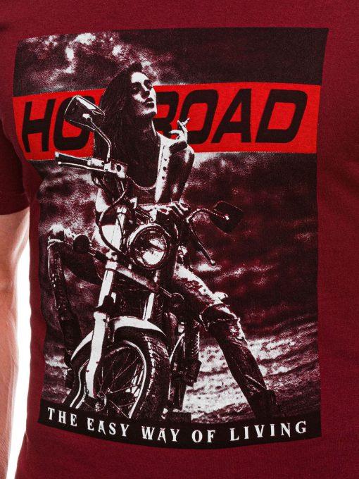 Raudoni vyriski marskineliai su motociklu internetu pigiau S1468 20177-2