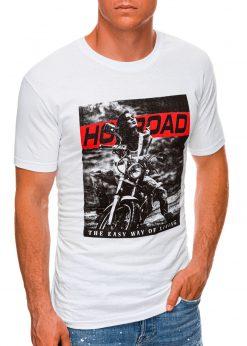 Balti vyriški marškinėliai su motociklu internetu pigiau S1468 20178-1